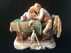 Antique porcelain. 2 hunters with dog after the hunting. Marked and signed…