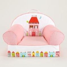 Kids Personalized Seating: Kids Pink Little House Personalized Nod Chair, Pink House Cover Only  $79.00