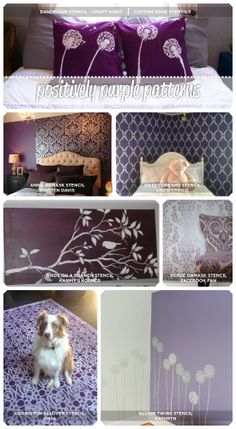 Cutting Edge Stencils shares purple stenciled rooms, crafts, and furniture that is sure to inspire! http://www.cuttingedgestencils.com/wall-stencils-stencil-designs.html