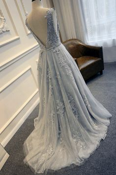 Gray Blue Lace Wedding Dress