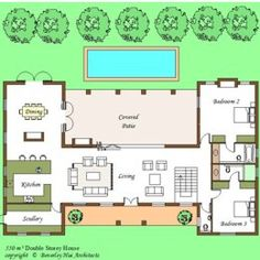 Best House Plans With Courtyard Pool Middle Ideas U Shaped House Plans, U Shaped Houses, Pool House Plans, Courtyard House Plans, House Layout Plans, House Plans One Story, Best House Plans, Small House Plans, House Layouts