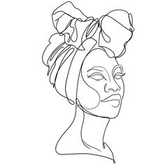 Face Line Drawing, Single Line Drawing, Line Art Tattoos, Line Work Tattoo, Afrika Tattoos, Afro Tattoo, African Drawings, Art Inspo, Cool Art