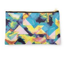 #pouch #pouches #pencilcase #clutch #bag  #accesories #watercolor #geometry #triangles #color #colorful #blue #girly #cute #abstract #patterns #ninola #redbubble