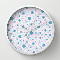 Forget Me Nots - Pink Wall Clock by Lisa Argyropoulos Pink Wall Clocks, Best Wall Clocks, Tic Toc, Pink Walls, Cool Walls, Lisa, Forget, Home Decor, Decoration Home