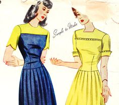 Simplicity 4846 - 1940s Bust 32 Misses Dress Short Sleeve Scallop by OpalsOwlVintage