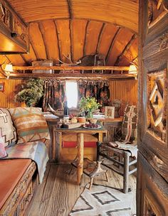 Ralph Lauren refurbished Airstream using salvaged barnwood.