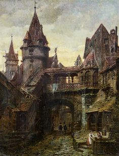 View A medieval district at sunset By Ferdinand Knab; Oil on canvas; Access more artwork lots and estimated & realized auction prices on MutualArt. Fantasy Village, Fantasy Town, Fantasy Castle, Fantasy World, Dark Fantasy, Medieval Houses, Medieval Life, Medieval Castle, Medieval Fantasy