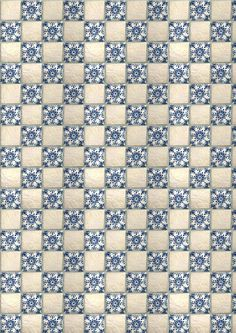 miniature printable blue and white quilt
