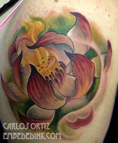 082f86596 lotus tattoo by Carlos Ortiz in blue Island, IL. just south of chicago  embededink.com. Embeded Ink