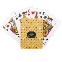 #monogrammed - #Monogram Golden Yellow Emoji Smiley Design Playing Cards