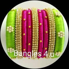 For reference Silk Thread Jhumkas, Silk Thread Bangles Design, Silk Bangles, Silk Thread Earrings, Bridal Bangles, Thread Jewellery, Beaded Jewelry, Diy Jewellery, Saree Tassels Designs