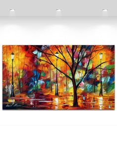Colorful Impression In Night Park Modern Color Palette Painting Canvas Prints Art for Home Office Cafe Decoration No Frame
