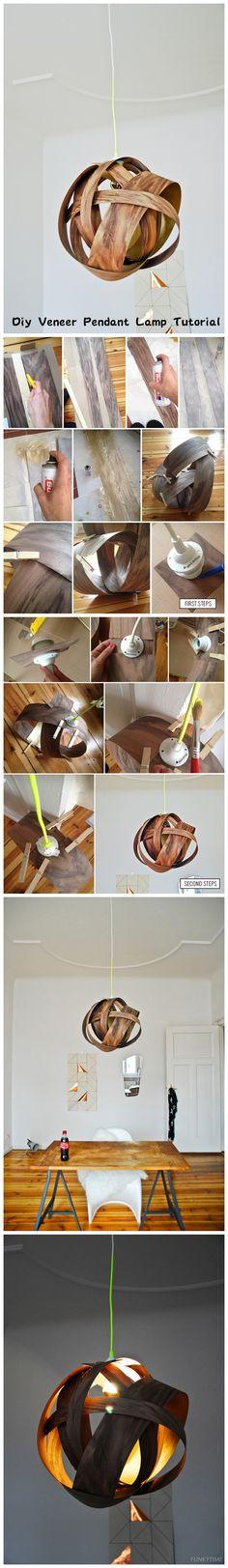 Diy Veneer Pendant Lamp Tutorial - Another! Diy Pendant Light, Pendant Lamp, Pendant Lighting, Deco Luminaire, Diy Light Fixtures, Decoration Inspiration, Diy Chandelier, Wooden Lamp, Light Project