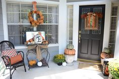 love the flower box & stand ~ burlap ribbon & monogrammed pumpkin ~ pumpkin topiary by the door ~ Fall Front Porch Decorating Ideas