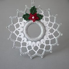 Items similar to crochet christmas wreath christmas decoration silver white decor crochet christmas ornament wreath tree toy winter wedding decor on etsy Crochet Christmas Wreath, Crochet Wreath, Crochet Christmas Decorations, Crochet Decoration, Crochet Ornaments, Holiday Crochet, Christmas Ornament Sets, Handmade Ornaments, Christmas Knitting