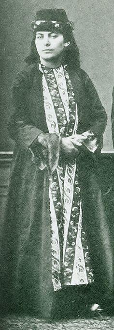 Indoors costume of an urban Armenian woman from Van.  Late-Ottoman era, ca. 1870.   Picture from  'Les Costumes Populaires de la Turquie'- Osman Hamdi Bey, 1873.  (Erfgoedbibliotheek, Antwerpen).