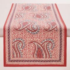 One of my favorite discoveries at WorldMarket.com: Coral Paisley Escala Table Runner
