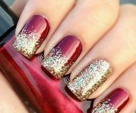 291176 Red Nails With Glitter