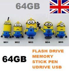 NEW 64GB USB DESPICABLE ME MINIONS FLASH PEN DRIVE MEMORY STICK NOVELTY CARTOON | eBay