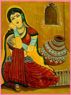 Discover Painting by Divya Sharma on Touchtalent. Touchtalent is premier online community of creative individuals helping creators like Divya Sharma in getting global visibility. Mural Painting, Mural Art, Fabric Painting, Pebble Painting, Fabric Art, Watercolor Painting, Murals, Rajasthani Painting, Rajasthani Art