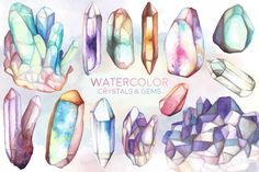 Watercolor Crystals and Gems Clipart - 13 Hand Painted 300 DPI Crystal Clusters, Minerals & Stones Clip Art - Unique Design Elements Clipart, Mineral Stone, Creative Sketches, Crystal Cluster, Watercolor And Ink, Oeuvre D'art, Graphic Illustration, Painting & Drawing, Design Elements