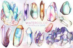 Watercolor Crystals & Gems Bundle by Kenna Sato Designs on @creativemarket