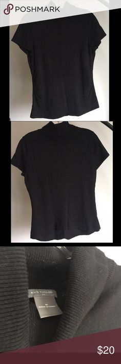 Ann Taylor black, short-sleeve, mock turtleneck Simple, elegant black, short-sleeve, mock turtleneck. Ann Taylor Tops Blouses