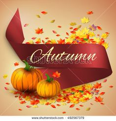 Autumn satin ribbon banner