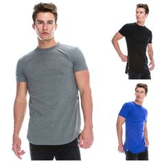 Muscle Fit Hip Hop Basic Crewneck Longline Round Hemline T-Shirt w/Side Zipper Hip Hop, Casual Outfits, Men Casual, Fashion Brands, Crew Neck, Fitness, Mens Tops, Stuff To Buy, Clothes