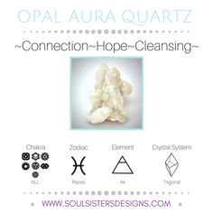 Metaphysical Healing Properties of Opal Aura Quartz, including associated Chakra, Zodiac and Element, along with Crystal System/Lattice to assist you in setting up a Crystal Grid. Go to https://www.soulsistersdesigns.com to learn more!