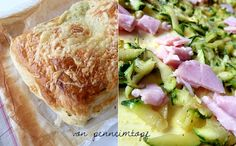 Blätterteig-Tasche mit Zucchini-Schinken-Käse-Füllung