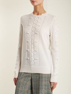 Barrie Fluttering Lace crew-neck cashmere sweater white
