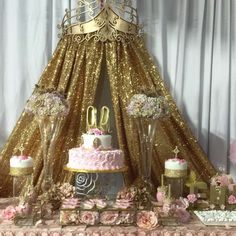 Glittery backdrop at a pink and gold princess baby shower party! See more party planning ideas at CatchMyParty.com!