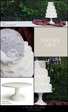 A ruffled cake inspired by the name of the cake stand color was created by Erin at @Mary Thompson Little Blackbirds for the new and improved Vintage Lace wedding cake stand. A hand-painted vintage lace design in shades of taupe, and light touches of gray and robin egg blue are a darling complement. #cakestands, #wedding, #cake, #ivory, #tlbcakes, #sarahsstands