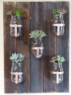 Reclaimed Wood Mason Jar Planters