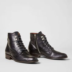 • Premium hand finished, full grain leather and suede• Leather-lined for breathability and a luxurious feel&. Low Heel Ankle Boots, Low Heels, Suede Leather, Black Leather, Witch Shoes, Rind, Toe Shape, Beautiful Shoes, Lace Up Boots