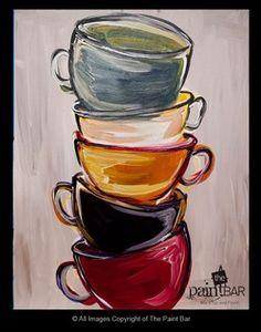 Lemondée Gillespie Watkins DeeDee is putting coffee cup decor in her kitchen. Coffee Cup Drawing, Coffee Cup Art, Coffee Painting, Coffee Coffee, Paint Bar, Paint And Sip, Easy Paintings, Beautiful Paintings, Acrylic Paintings