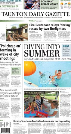 The front page of the Taunton Daily Gazette for Tuesday, June 30, 2015.