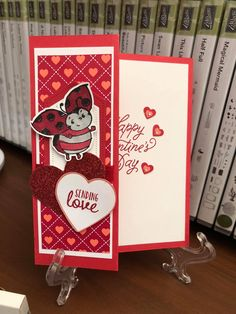 Valentine Greeting Cards, Heart Cards, Valentine Heart, Love Cards, Lady Bug, Homemade Cards, Stampin Up Cards, Box, Holiday Crafts