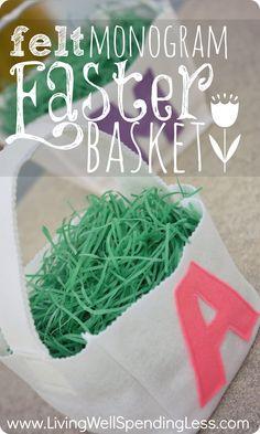 Felt Monogram Easter Basket--simple pattern & tutorial for sewing your own felt easter basket.  So cute! #easter #diy #craft