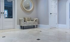 Bottucino polished marble tiles as a hallway floor with cabochans Marble Tiles, Marble Floor, Tile Floor, Hallway Flooring, Beige Marble, Stone Flooring, Floors, Furniture, Home Decor