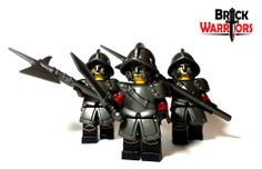 City Watch Armor, City Watch Helmet, City Watch Tassets, City Watch Halberd, and Gladius in use.  #Lego #minifigures #helmets #armor #weapons #halberds #guards #medieval #swords #knight #castle #kingdom #real #BrickWarriors #accessories #fantasy #army #war #battle