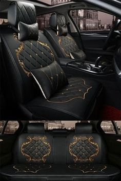 Billionaire Lifestyle Discover Classic Luxury Design With Beautiful Gold Trimmings Universal Car Seat Covers Luxury Pattern with Classic Grid. Black Design With Beautiful Gold Lines Decoration Universal Five Car Seat Cover Custom Car Interior, Audi Interior, Luxury Cars Interior, Interior Ideas, Mercedes Interior, Car Interior Design, Car Interior Decor, Car Interior Accessories, Truck Interior