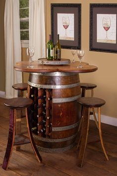 Wine Barrel Table Set - Wine Rack Base with 4 Stools - Donachelli's Cellars