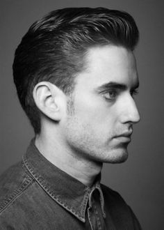 Sexy hairstyle for men with thrown back wet look