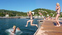Cool jump into the Adriatic Sea at Portorose
