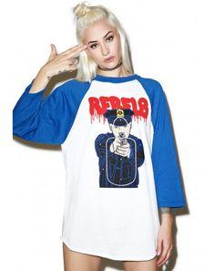 #DollsKill #lookbook #photoshoot #model Rebel8 #cop #target #raglan #baseball #shirt #blue #sleeves #rebel