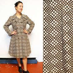 Items similar to Mod Double Breasted Abstract Polka Dot Patterened Raincoat in Dark Brown w/ Art Deco Buttons and Rich Burgundy lining on Etsy 60s Mod, Double Breasted, Vintage Outfits, Raincoat, Polka Dots, Trending Outfits, Etsy, Clothes, Shopping
