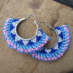 O Beads, Blue Beads, Embroidery Jewelry, Beaded Embroidery, Seed Bead Earrings, Beaded Earrings, Bead Jewellery, Beaded Jewelry, Craft Accessories