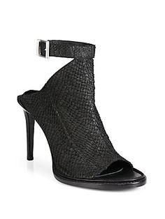 Helmut+Lang Snake-Embossed+Leather+Open-Toe+Sandals